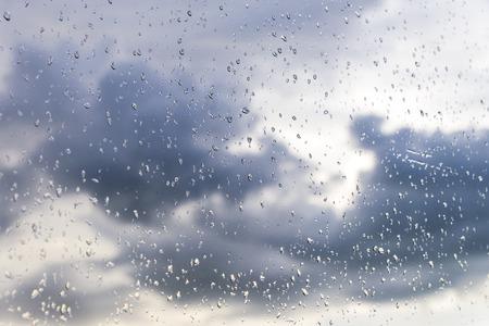 rain window: Rain  Water drop of rain on glass with outdoor background