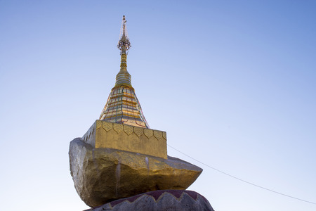 public domain: Golden rock pagoda (Kyaiktiyo pagoda) in Myanmar.They are public domain or treasure of Buddhism Stock Photo