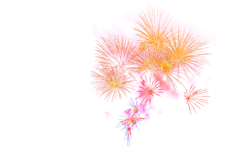 merry chrismas: Beautiful colorful firework display for celebration happy new year and merry chrismas on white background