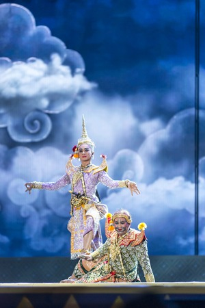 ramayana: Bangkok. Thailand - 13 december 2015, Khon is dance drama of Thai classical masked, this performance is Ramayana epic, the show is open around and free in bangkok, thailand
