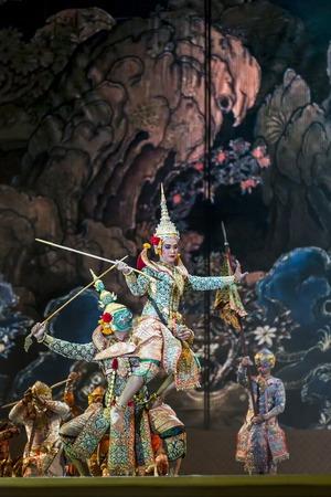 act of god: Bangkok. Thailand - 13 december 2015, Khon is dance drama of Thai classical masked, this performents is Ramayana epuc, act Vishnu suppress giant demon in bangkok, thailand Editorial