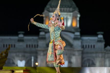 Bangkok. Thailand - 13 december 2015, Khon is dance drama of Thai classical masked, this performents is Ramayana epuc, act Vishnu suppress giant demon in bangkok, thailand Editorial