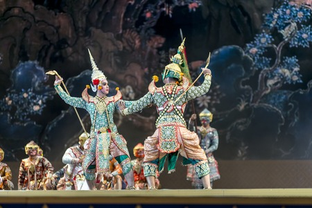act of god: Bangkok. Thailand - 13 december 2015, Khon is dance drama of Thai classical masked, this performance is Ramayana epic, the show is open around and free in bangkok