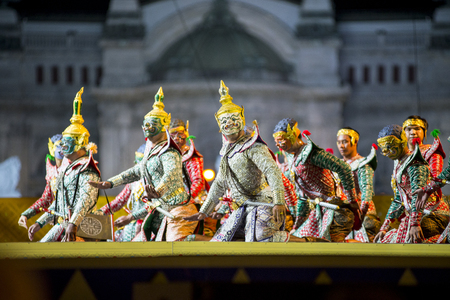 Bangkok. Thailand - 13 december 2015, Khon is dance drama of Thai classical masked, this performance is Ramayana epic, the show is open around and free in bangkok
