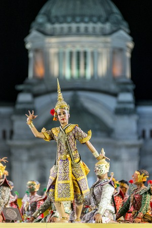 epic: Bangkok. Thailand - 13 december 2015, Khon is dance drama of Thai classical masked, this performance is Ramayana epic, the show is open around and free in bangkok