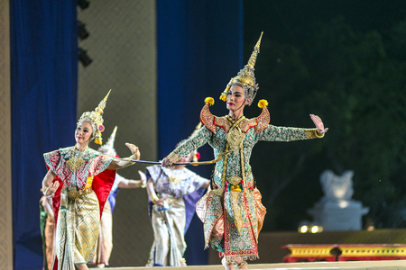 ramayana: Bangkok. Thailand - 13 december 2015, Khon is dance drama of Thai classical masked, this performance is Ramayana epic, the show is open around and free in bangkok