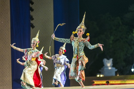 dance drama: Bangkok. Thailand - 13 december 2015, Khon is dance drama of Thai classical masked, this performance is Ramayana epic, the show is open around and free in bangkok