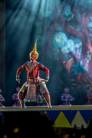 dance drama: Khon is dance drama of Thai classical masked, this performance is Ramayana epic Editorial