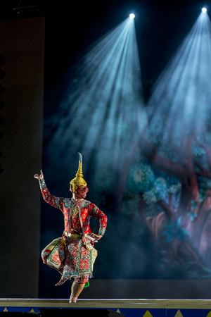 epic: Khon is dance drama of Thai classical masked, this performance is Ramayana epic Editorial