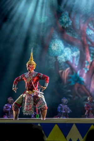ramayana: Khon is dance drama of Thai classical masked, this performance is Ramayana epic Editorial