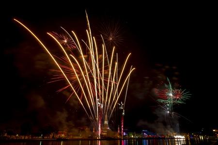 bangkok landmark: Beautiful firework display for celebration Happy new year 2016, bangkok  Countdown Beautiful backdrop and lighting of famous Bangkok landmark at Wat Arun, Thailand