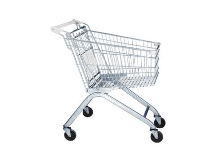 carretilla de mano: Carro de la compra en la tienda de la comercialización aislada en el fondo blanco
