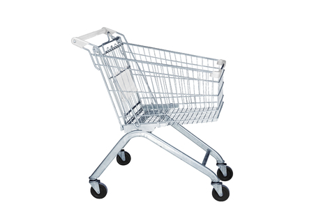 Shopping cart in marketing shop isolated on white background
