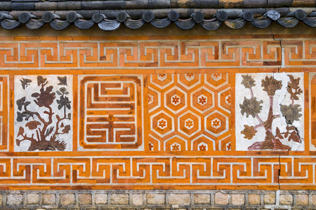 Traditional Ancient decor Brick wall pattern and background, Korea style, Gyeongbokgung Palace in Seoul, republic of Korea