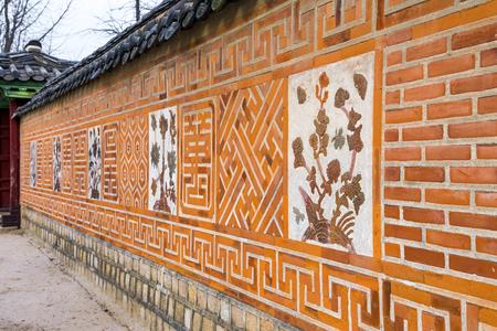 korean style house: Traditional Ancient decor Brick wall pattern and background, Korea style, Gyeongbokgung Palace in Seoul, republic of Korea