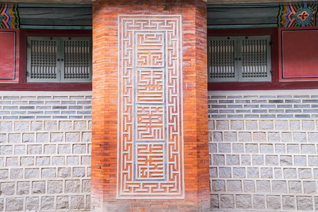 architectural tradition: Architectural detail - Korean Tradition Wooden Window, decoration brick wall from ancient korean house in Seoul, repulic of Korea