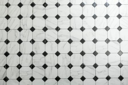 Baldosas, mármol blanco Negro y azulejos fondo y el patrón
