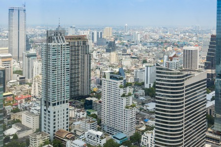 bangkok metropolis, skyline Cityscape, View of downtown with modern office buildings, hotel, condominium and high rise building, capital of Thailand Stock Photo