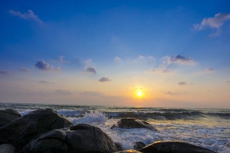 bubble level: Sponge water waves on Rocks Beach, Beautiful tropical beach,Crystal Beach at koh kood island, Thailand in sunset time Stock Photo