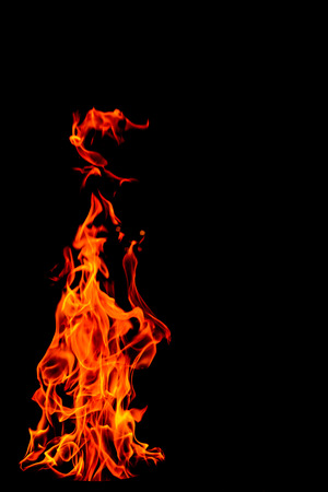 yellow, orange and red and red Fire flame isolated on black isolated background