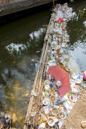 unhygienic: 14 Mar. 2016, bangkok, thailand, environmental problems, Unhygienic  garbage  Waste dumps clogging the canals and rivers in Bangkok, Thailand,The cause flooding in Bangkok Stock Photo