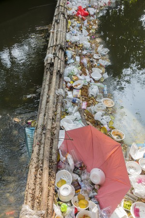unhygienic: 14 Mar. 2016, bangkok, thailand, environmental problems, Unhygienic  garbage  Waste dumps clogging the canals and rivers in Bangkok, Thailand,The cause flooding in Bangkok Editorial