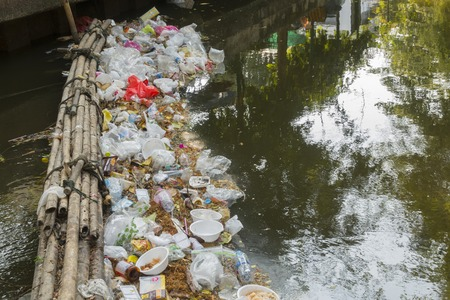 14 Mar. 2016, bangkok, thailand, environmental problems, Unhygienic  garbage  Waste dumps clogging the canals and rivers in Bangkok, Thailand,The cause flooding in Bangkok Editorial