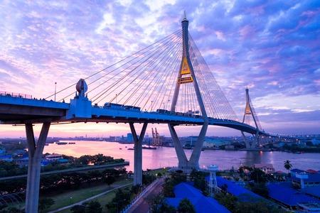 5 DEC 2017, bangkok, Sunrisesunset sky Bhumibol Bridge 2 Facilities and traffic routes linking the logistics industry in bangkok, thailand Editorial