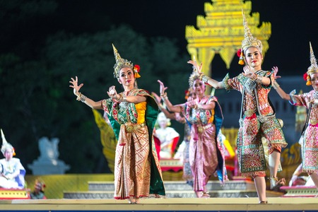 act of god: Bangkok. Thailand - 13 december 2015, Khon is dance drama of Thai classical masked, this performance is angel blessing, the show is open around and free in bangkok