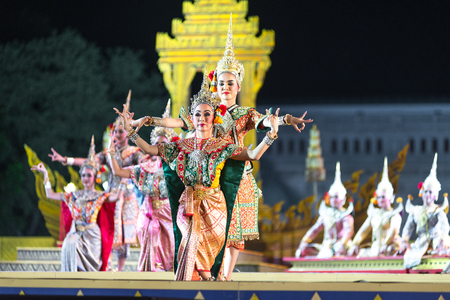 Bangkok. Thailand - 13 december 2015, Khon is dance drama of Thai classical masked, this performance is angel blessing, the show is open around and free in bangkok