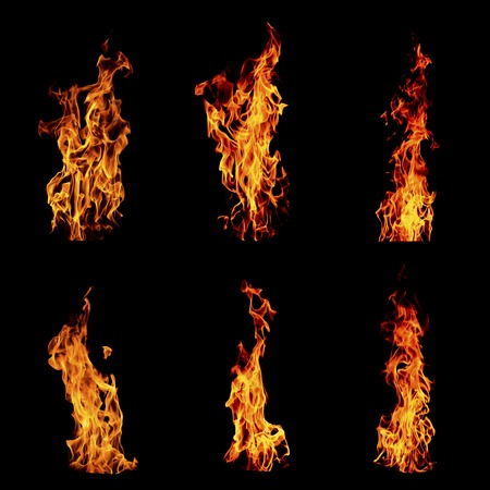 Fire flame isolated set on black isolated background - Beautiful yellow, orange and red and red blaze fire flame texture style.