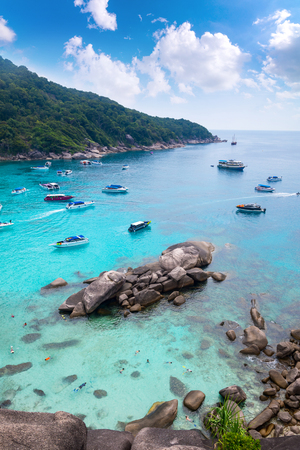 phangnga: Beautiful crystal clear sea at tropical paradise island, Similan island, Andaman sea,  Seas most beautiful white sand beaches for relaxing summer and diving underwater beautiful ,Thailand