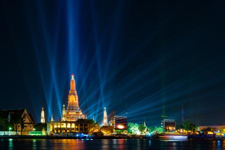 Beautiful backdrop and lighting of famous Bangkok landmark at Chao Phraya River and Wat Arun, Bangkok, Thailand,  the landmark of Thailand