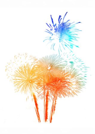 beautiful colorful firework isolated display for celebration happy new year and merry christmas on white isolated background, fireworks father day
