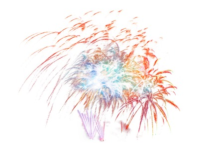 beautiful colorful firework display for celebration happy new year and merry christmas on white isolated background, fireworks new year 2018 Фото со стока