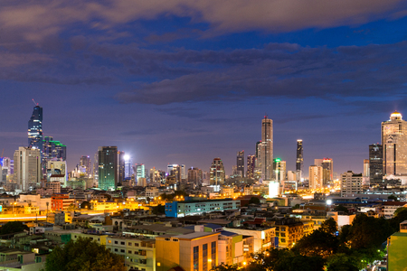 cityscape Bangkok  night blue sky background, Bangkok is city of night light  never sleep in Thailand. Stock fotó