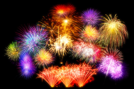 beautiful firework display set for celebration happy new year and merry christmas and  fireworks on black isolated background Stock Photo