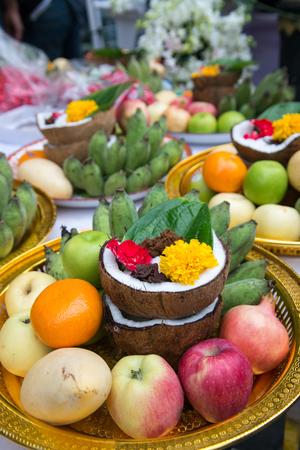 frash fruit decorate on tray for worship for hindi god in diwava festival, at Nawaratri annual festivity, Bangkok, Thailand