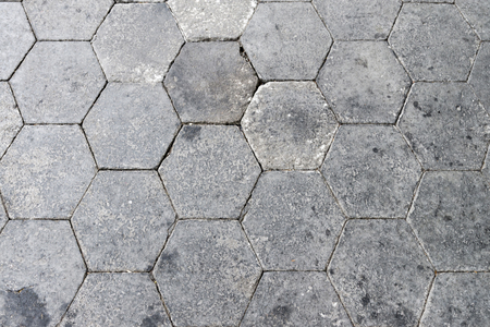 Grey Hexagonal Brick Floor Pavement In Top View Pattern Background And Texture Stock Photo