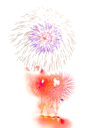 Firework beautiful colorful fireworks for celebration happy new year and merry christmas on white isolated background