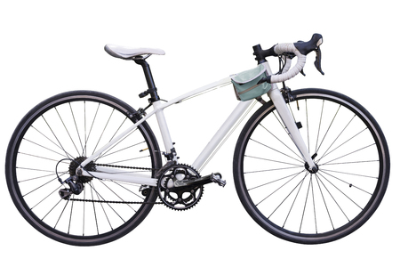 vintage race road bike  white bicycle classic style, modified spare parts, two tone color bicycle wheels, Leather bike on isolated white background