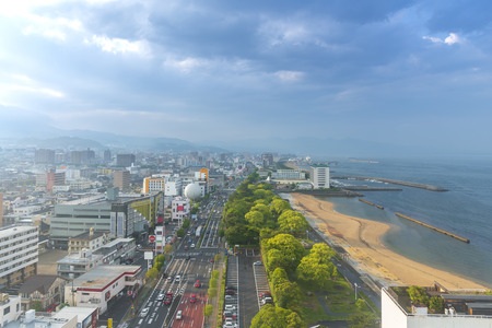 Beppu, Japan - May 6, 2019:  Cityscape view of Beppu city and Beppu bay from Beppu tower, Oita, Kyushu, Japan Stok Fotoğraf - 123342375