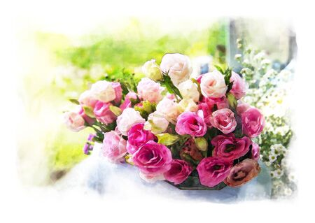 water color painting bouquet of pink rosesB in glass vase on outdoor and bokeh background with artistic technical effect - water color painting. Stok Fotoğraf