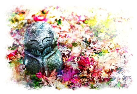 Jizo on Red maple leaves fall off the red carpet (little Japanese Buddhist monk doll rock), in Japanese Garden  at Enkoji Temple, Kyoto, Japan. the beautiful Momiji autumn season with artistic technical effect - water color painting Stock fotó