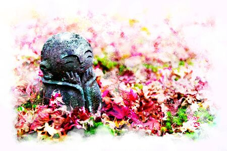 Jizo on Red maple leaves fall off the red carpet (little Japanese Buddhist monk doll rock), in Japanese Garden  at Enkoji Temple, Kyoto, Japan with artistic technical effect - water color painting Stock fotó