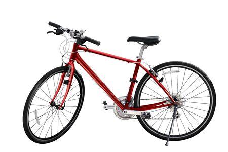 orange red mountain bike on white isolated background