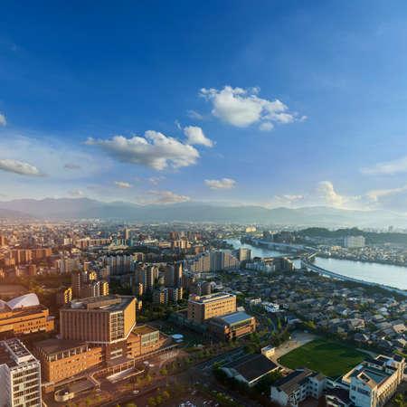 View skyline of fukuoka downtown city cityscape with blue sky, Fukuoka, Japan