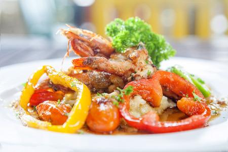 Mashed potato with shrimps Stock Photo