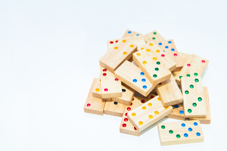 wooden domino game on white background Stock Photo