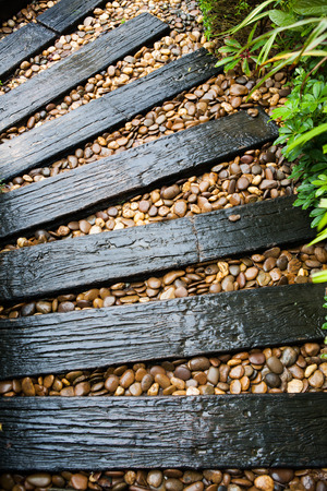 garden structure made out of reclaimed railway sleepers Stok Fotoğraf